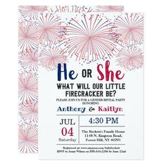 Firecracker 4th Of July Gender Reveal Party Invitation Floating Paper Lanterns, Memorial Day Celebrations, Blue Fireworks, Gender Reveal Party Invitations, Baby Invitations, Patriotic Party, Bbq Party, Firecracker, Reveal Parties