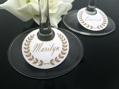 10 x Personalised Wine Glass Place cards by Just4YouGiftsAus Have our for guests to pick up at cocktail hour - has table number on back