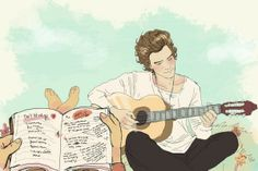 Imagine them song writing together // Larry Stylinson fan art