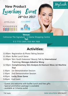 Good day, buddies! Introducing our new product launching event on 28th Oct 2017 at 1 Utama Shopping Centre. Join and participate to our upcoming activities – it's going to be full of fun and excitement!  There will be buffet lunch and free gifts to enjoy! Take advantage of the special promo package and be one of lucky winners of the lucky draw game! See you there! :)  Contact us at:  🏠IOI Mall Puchong, Lot ES06, 2F ☎03-8082 1286 📱0182772909  🏠One Utama, Lot S118b,2f ☎03-7733 5369…