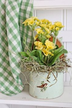 via Vibeke design Cottage Living, Cottage Style, Vibeke Design, Shabby Chic, Primroses, Deco Floral, Spring Has Sprung, Shades Of Green, Spring Flowers