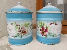Antique enamelled kitchen containers.