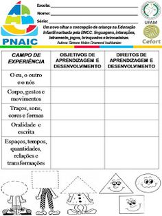 Atividades Escolares: VAMOS PLANEJAR: NOVA BNCC SEM COMPLICAÇÕES Nova, Education, Activities For Students, Daycare Lesson Plans, Lesson Plans For Elementary, Dyslexia, Note Cards, Lets Go, Teaching