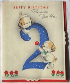 Vintage 2 Year Olds Birthday Card