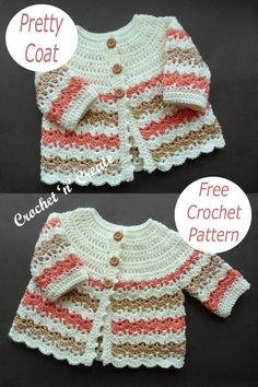 Crochet Baby Cardigan, Crochet Baby Clothes, Sewing Clothes, All Free Crochet, Love Crochet, Crochet Yarn, Coat Patterns, Baby Patterns, Crochet Toys Patterns