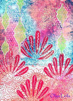 A vendre. Carton. Gouache. 32 X 24. Artiste peintre Olga Leila. Maroc. ounir2@gmail.com