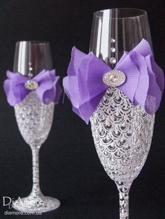 Wedding glasses from the collection LACE white purple by DiAmoreDS, $45.00
