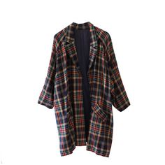 multi coloured oversized vintage tartan check coat jacket (30 AUD) found on Polyvore