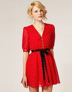 Dahlia Heart Print Chiffon Dress, €80 Vestito con stampa a cuori, Dahlia, €80