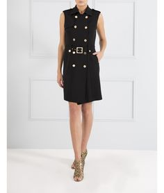 Military styling adheres to this season's popular sports-luxe aesthetic. Channel the trend in this black sleeveless blazer dress. Featuring gold buttons and a buckle belt, the versatility of this piece means you can button it up as a dress or wear it open with a pared back top and pair of jeans.