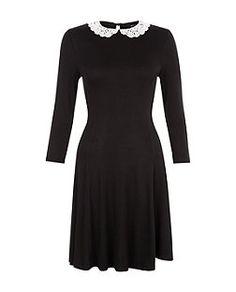 Black Crochet Collar Skater Dress    New Look