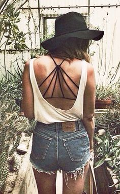 #freepeople.  White tank, black hipster hat, hws shorts, Strappy back