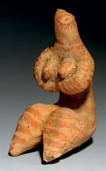 A SYRIAN TERRACOTTA FEMALE FIGURE TEL HALAF CULTURE, CIRCA 5TH MILLENNIUM B.C.
