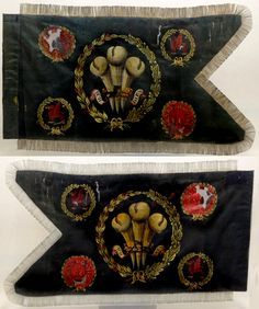 An extremely scarce George III period regimental guidon of the Denbighshire Yeomanry Cavalry. A dark green silk ground with bullion fringing. Hand-painted Prince of Wales feathers to the center surrounded by foliage sprays with the motto 'Ich Dien' (I Serve). Further decorations include the Welsh dragon and 'Denbighshire Y.C.' on a red background.