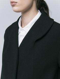 Innovative Pattern Cutting - black coat with rounded collar detail; sewing; fabric manipulation // OTHER/woman