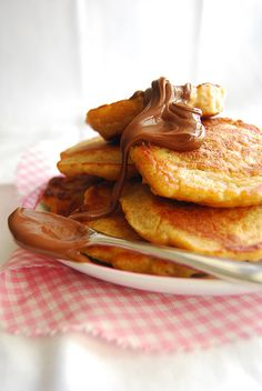 Whole Wheat Brown Sugar Banana Pancakes with Nutella...definitely making these again!