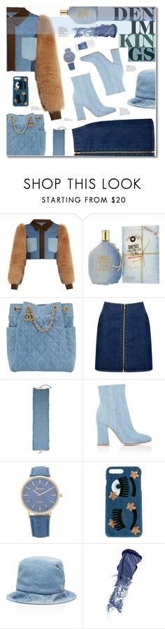 """ALL DENIM, ERRTHANG!"" by sunshineb on Polyvore featuring Sonia Rykiel, Diesel, Chanel, Boohoo, Gemma Simone, Gianvito Rossi, Chiara Ferragni, Maison Michel, Bobbi Brown Cosmetics and The Hand & Foot Spa"