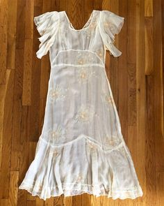 """caaf088f Boswell Vintage on Instagram: """"SOLD // DM to purchase ~ Insanely gorgeous  early to mid 1930s organdy garden party dress with floral embroidery and  flutter ..."""