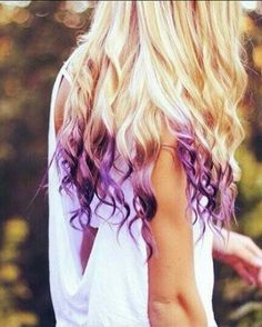 Blonde with purple tips.