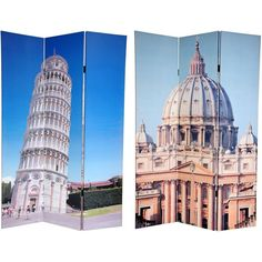 Double-sided 6-foot Pisa and St. Peter's Canvas Room Divider
