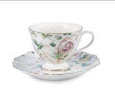 Antique Rose Porcelain Teacup and Saucer