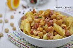 Pasta con ceci e speck #lacucinadirosalba #gialloblogs #ceci