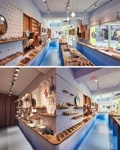 This modern retail store has pegboard walls that allow the owners of the store to display all product and if needed the shelves and hooks can easily be moved to change the layout of the walls. Display Design, Store Design, Visual Merchandising, Cl Design, Pegboard Display, Display Wall, Las Vegas, Clothing Displays, Healthy Meals For Two
