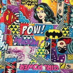 Girl Power! #batgirl #comics #nerdstuff #wonderwoman #girlpower #supergirl   Printed Cotton from Mill End Store   www.millendstore.com
