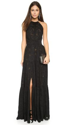 L'Agence Penelope Tiered Maxi Dress - Black
