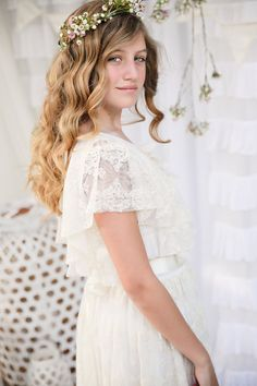 Valentina Vintage Lace Maxi Dress Bohemian Flower Girl  Flowergirls Flower girl dresses