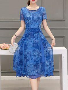 Blue A-line Short Sleeve Crew Neck Chiffon Midi Dress
