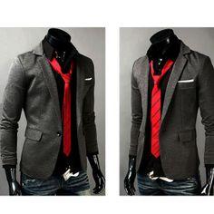 one button casual blazer men | Mens Casual Slim One Button Business Suit Blazer Jacket Coat/SKU050149 ...
