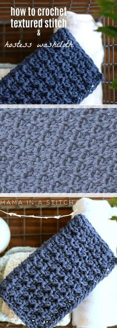 How To Crochet Textured Stitch & Hostess Washcloth via Mama In A Stitch Knit and Crochet Patterns - Jessica pattern Bag Crochet, Crochet Dishcloths, Tunisian Crochet, Crochet Gifts, Free Crochet, Free Knitting, Knitting Ideas, Learn Crochet, Crochet Things