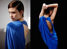 Bianca Spender Cornflower Silk Cutout Column Gown