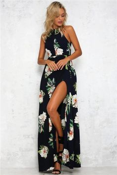 Backless Maxi Dresses, Maxi Dress With Slit, Beach Dresses, Floral Maxi Dress, Sexy Dresses, Casual Dresses, Summer Dresses, Summer Maxi, 2017 Summer