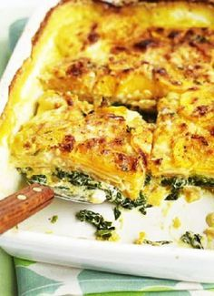 Sweet potato & spinach bake - If you're after some substantial comfort food on a budget then this vegetarian bake is just the thing. Add lamb chops for the meat eaters Sweet Potato Spinach, Spinach Bake, Spinach Gratin, Frozen Spinach, Potato Spinach Recipe, Spinach And Potato Recipes, Baked Potato Recipes, Sausage Recipes, Bbc Good Food Recipes