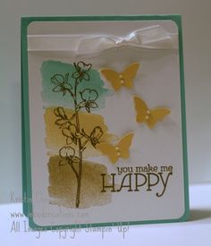 Happy Watercolor stamp set in gold.