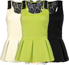 LADIES #SLEEVELSS #BODYCON #SKATER #TOP #WOMENS #BACK #LACE #PEPLUM #PARTY TOP