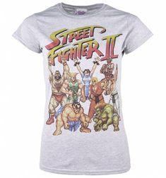 Women's Street Fighter II Pixel Gang Sport Grey T-Shirt
