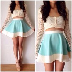 skirt sweater shirt see through cut-out aqua pretty lace floral short top crop tops button up blouse sheer flowy teal and white skater skirt summer outfits blue skirt dress outfit light blue