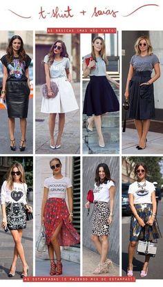 Camiseta + saia                                                                                                                                                                                 Mais #skirtoutfits