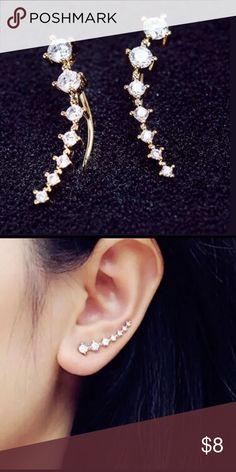 RHINESTONE CRYSTAL GOLD TONE EARRINGS NEW IN PACKAGE Jewelry Earrings