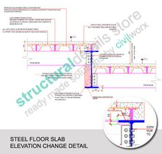 Steel Floor Slab Elevation Change Detail   Detail of two adjucent steel floor slabs which differ in elevation ( level change ). Concrete slabs supported on galvanized trapezoidal steel decking on secondary beams, supported on main transverse primary steel beam. Beams sections are IPE240 support on IPE600. Concrete slab thickness shown is 150mm.