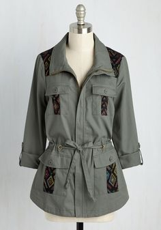 Keep a Woven Mind Jacket by ModCloth - Exclusives, 1, Cotton, Woven, Summer, Pockets, Belted, Casual, Green, Solid, Buttons, Embroidery, Military, Boho, Safari, Long Sleeve, Fall, Winter, Long, Better, Private Label, HP Featured, 70s, Festival