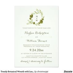 Trendy Botanical Wreath with Leaves and Artichokes 5x7 Paper Invitation Card