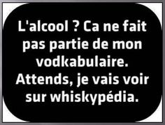 The alcohol ? L'alcool ? Ca ne fait pas partie de mon vodkabulaire. The alcohol ? Wait, I'm going to check on whiskypedia. Motivacional Quotes, Words Quotes, Life Quotes, Sayings, Nurses Week Quotes, Haha, Quote Citation, French Quotes, In Vino Veritas