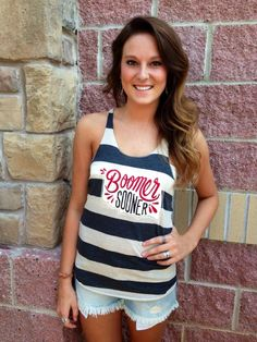 OU striped boomer sooner tank top #lushfashionlounge #ou