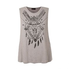 Ally Fashion Bohemian print marl tank (660 INR) ❤ liked on Polyvore featuring tops, blusas, shirts, mocha, boho shirts, bohemian tank top, print shirts, boho tank tops and white singlet
