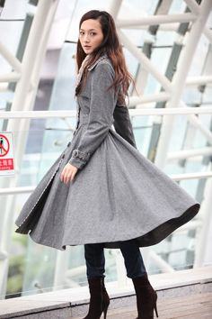 Grey Cashmere Coat Big Sweep Women Wool Winter by Sophiaclothing, $179.99