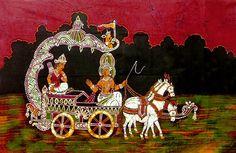 Krishna Preaching the Gita to Arjuna (Batik Painting on Cotton Cloth - Unframed))